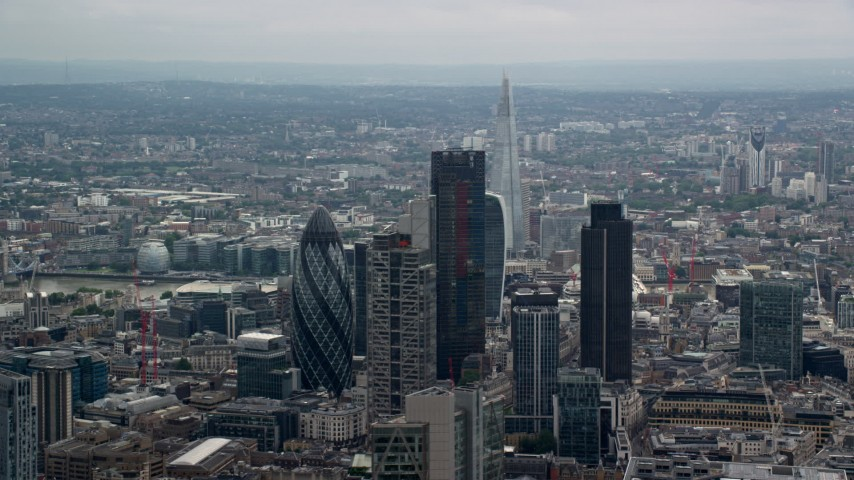 6K aerial video of towering skyscrapers and city sprawl, Central London, England Aerial Stock Footage | AX114_068