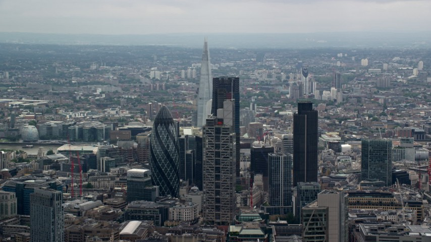 6K stock footage aerial video flyby skyscrapers revealing The Shard, Central London, England Aerial Stock Footage | AX114_069
