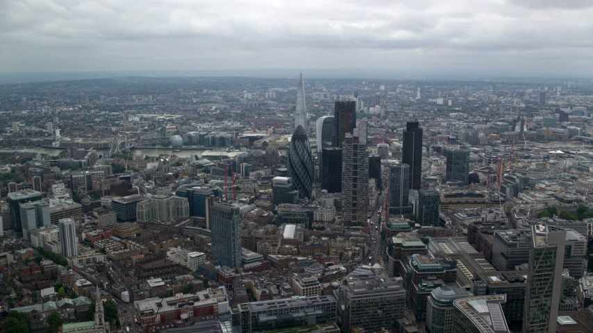 6K stock footage aerial video approach tall skyscrapers and The Shard, Central London, England Aerial Stock Footage | AX114_070