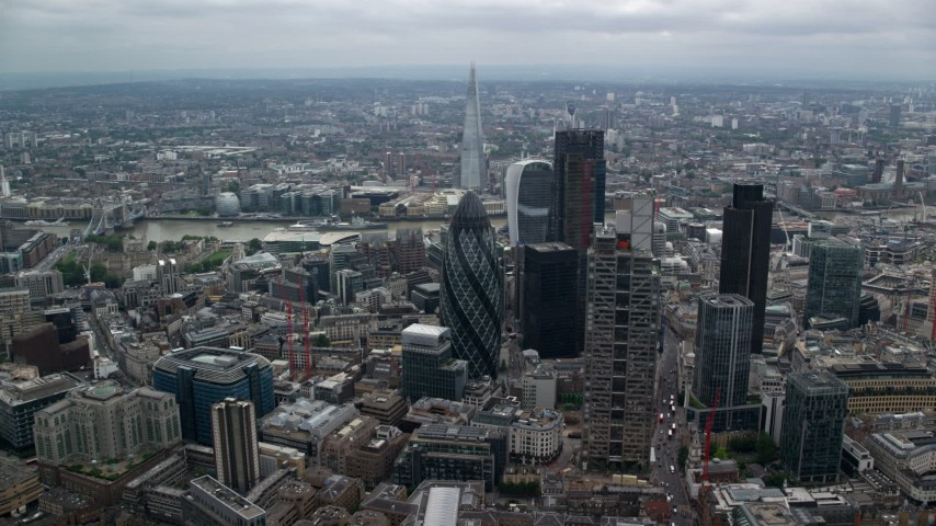 6K stock footage aerial video of approaching The Gherkin skyscraper in Central London, England Aerial Stock Footage | AX114_072