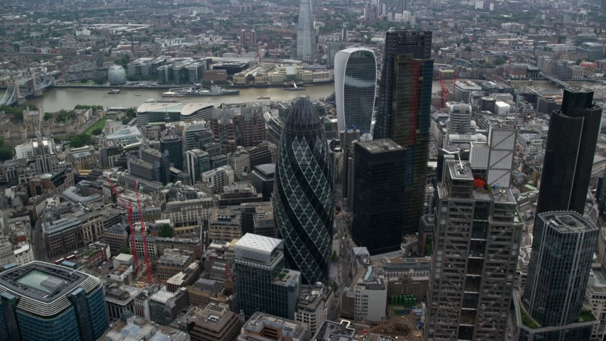 6K stock footage aerial video of an approach to The Gherkin skyscraper, Central London, England Aerial Stock Footage | AX114_073