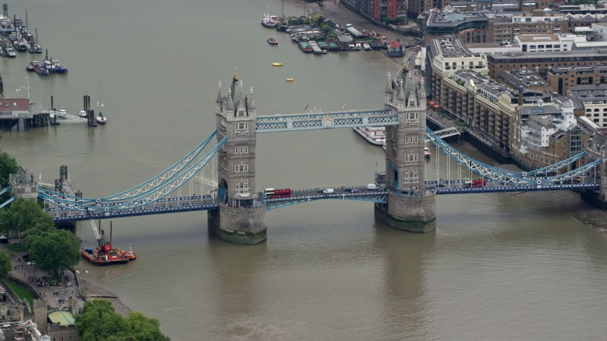6K stock footage aerial video of Tower Bridge with light traffic over River Thames, London, England Aerial Stock Footage | AX114_083
