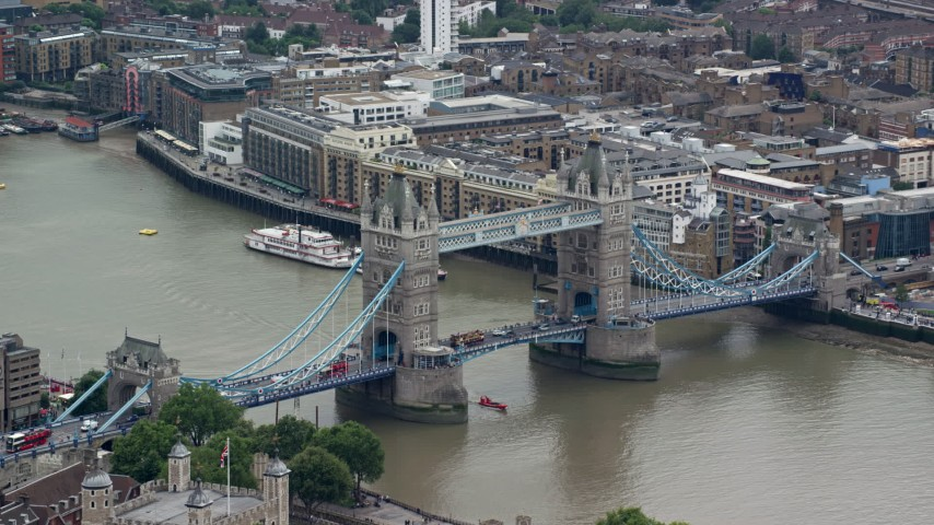 6K stock footage aerial video of an orbit of the Tower Bridge, London, England Aerial Stock Footage AX114_085