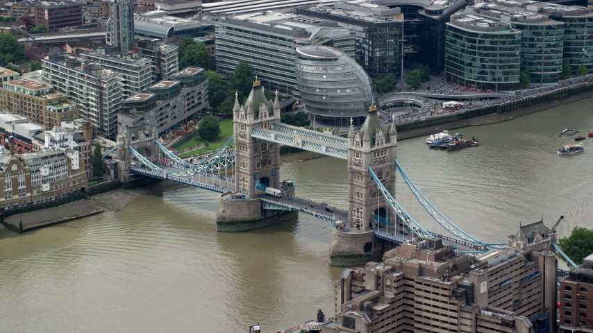 6K stock footage aerial video of an orbit around historic Tower Bridge on River Thames, London, England Aerial Stock Footage | AX114_091