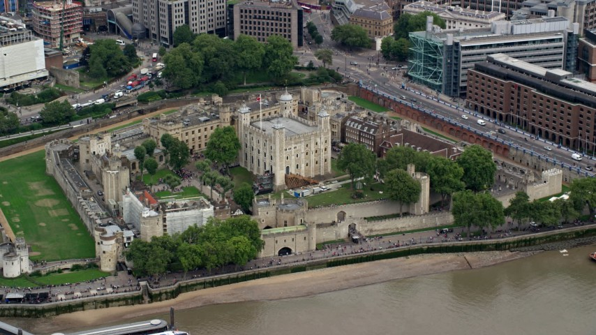 6K stock footage aerial video of the historic Tower of London, England Aerial Stock Footage AX114_099