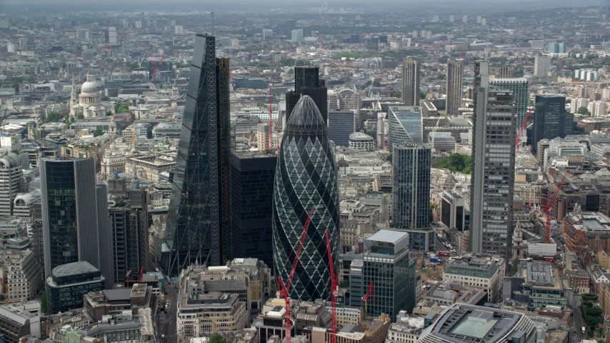 6K stock footage aerial video of an orbit of The Gherkin and Central London skyscrapers, England Aerial Stock Footage AX114_105