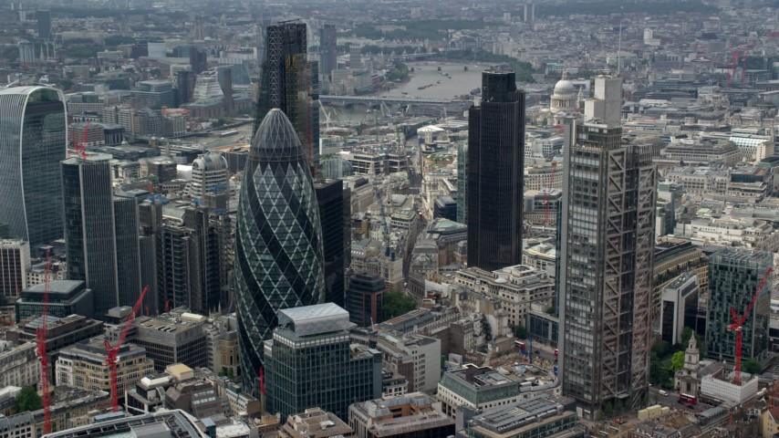 6K stock footage aerial video of orbiting The Gherkin and Heron Tower skyscrapers, Central London, England Aerial Stock Footage | AX114_107