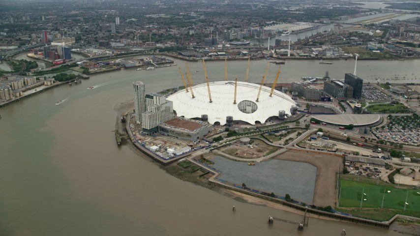 6K stock footage aerial video of the O2 beside the River Thames, London, England Aerial Stock Footage | AX114_135