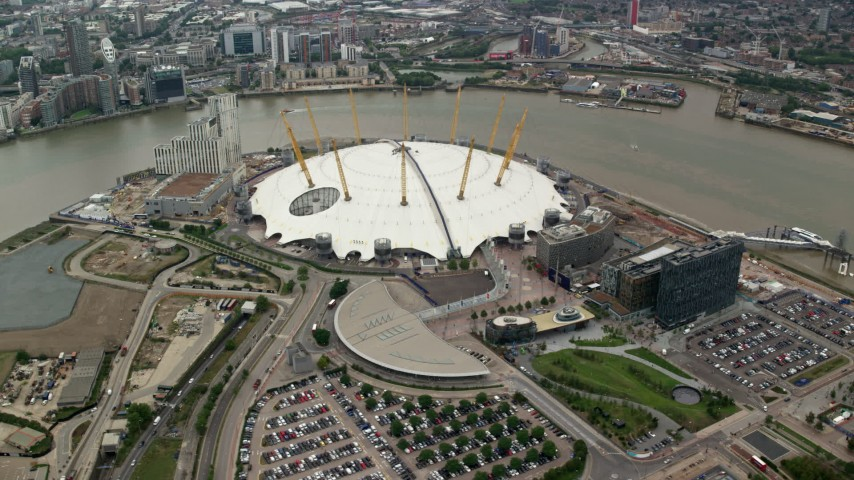 6K stock footage aerial video of an orbit around the O2 Arena by the River Thames, London, England Aerial Stock Footage | AX114_138