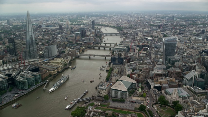 6K stock footage aerial video follow River Thames toward London Bridge and The Shard, England Aerial Stock Footage | AX114_160