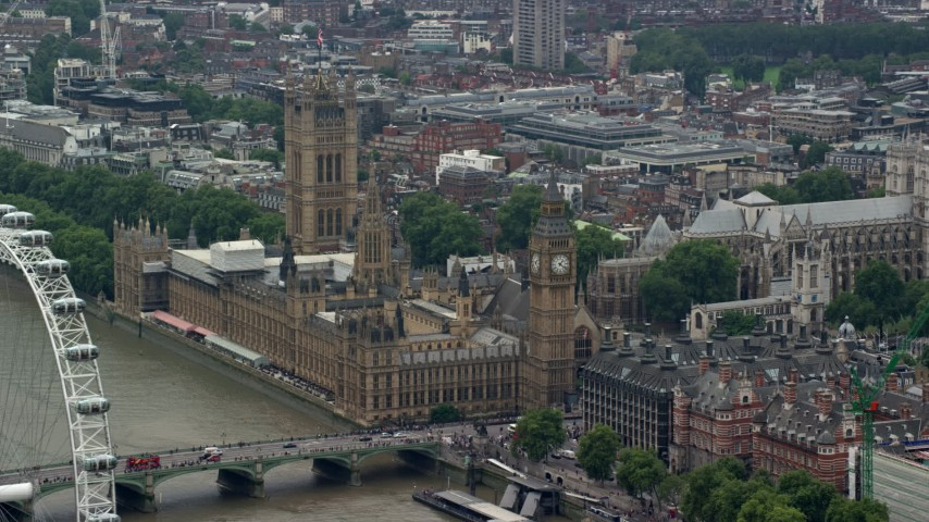 6K stock footage aerial video of Big Ben and Parliament by the River Thames, London, England Aerial Stock Footage | AX114_166