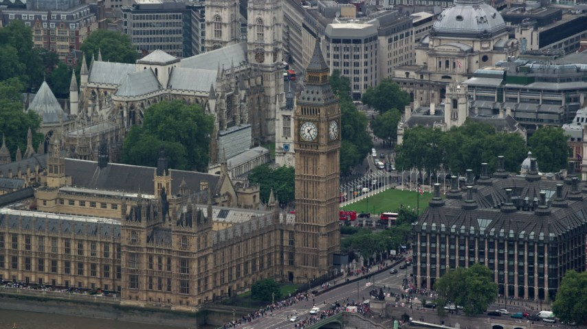 6K aerial stock footage video of a view of famous Big Ben, London, England Aerial Stock Footage | AX114_182