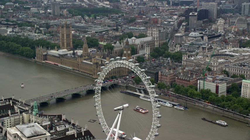6K stock footage aerial video of approach Big Ben and Parliament from the London Eye, England Aerial Stock Footage | AX114_185