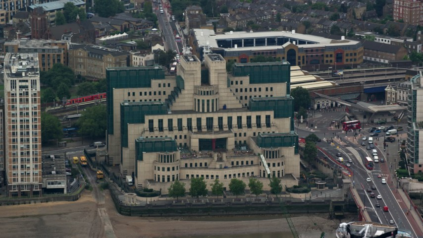 6K stock footage aerial video of a close-up view of the MI6 Building, London, England Aerial Stock Footage | AX114_193