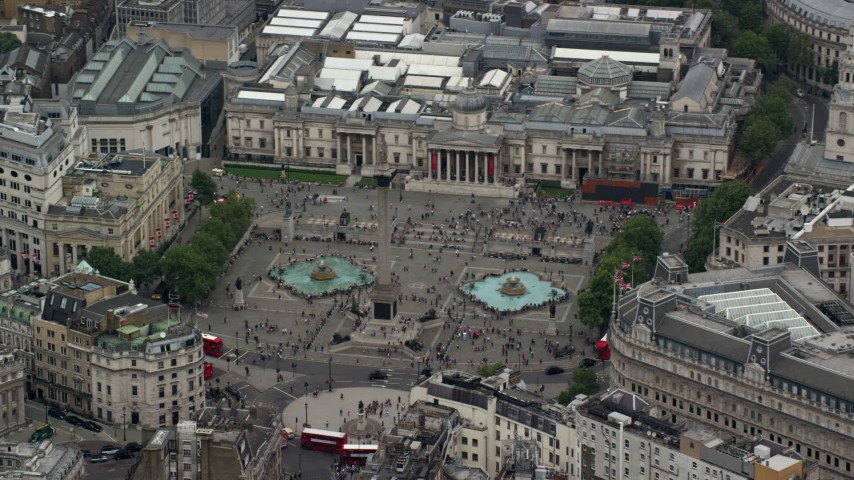 6K stock footage aerial video of Trafalgar Square in London, England Aerial Stock Footage AX114_199