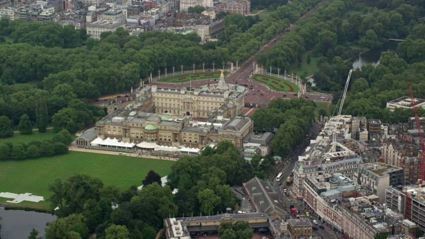 6K stock footage aerial video of flying by the back of Buckingham Palace, London, England Aerial Stock Footage | AX114_216