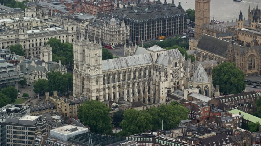 6K stock footage aerial video of Westminster Abbey in London, England Aerial Stock Footage | AX114_218