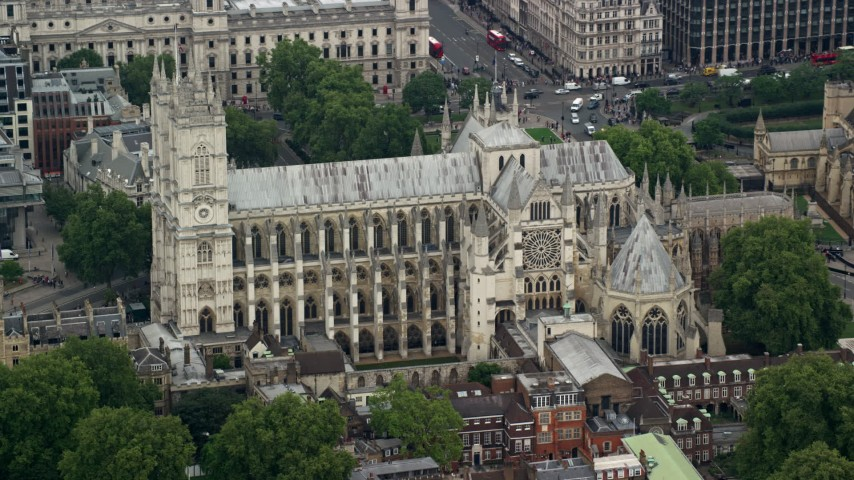 6K stock footage aerial video of orbiting Westminster Abbey, London, England Aerial Stock Footage | AX114_219