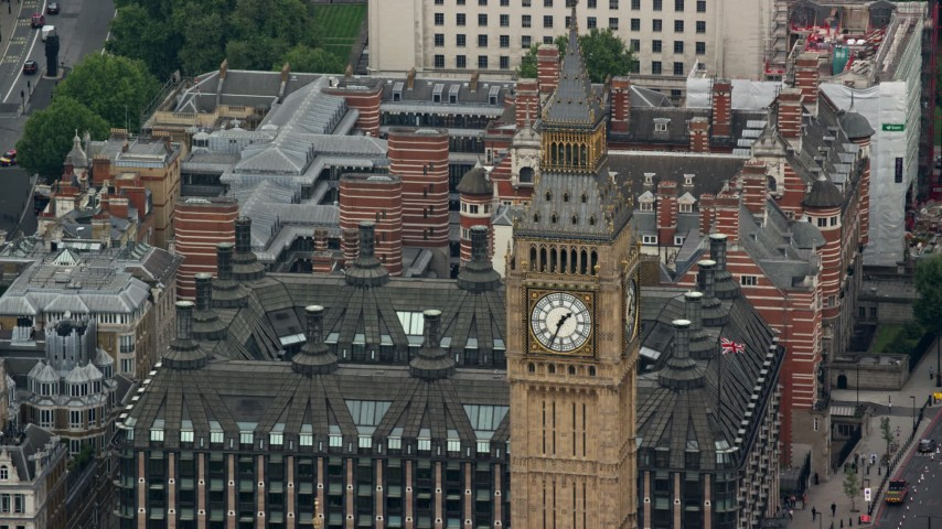 6K stock footage aerial video of the top of Big Ben, London, England Aerial Stock Footage | AX114_220