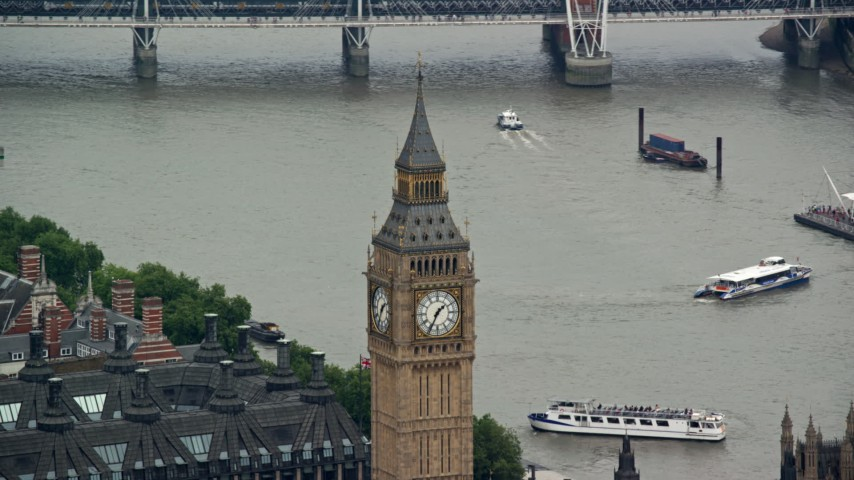 6K stock footage aerial video of Big Ben overlooking the River Thames, London, England Aerial Stock Footage | AX114_223