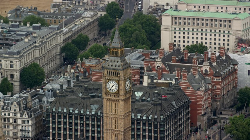 6K stock footage aerial video of orbiting the top of Big Ben in London, England Aerial Stock Footage | AX114_226