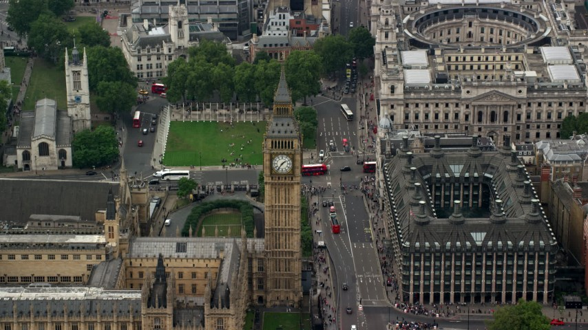 6K stock footage aerial video orbit Big Ben, Bridge Street and Portcullis House, London, England Aerial Stock Footage | AX114_229