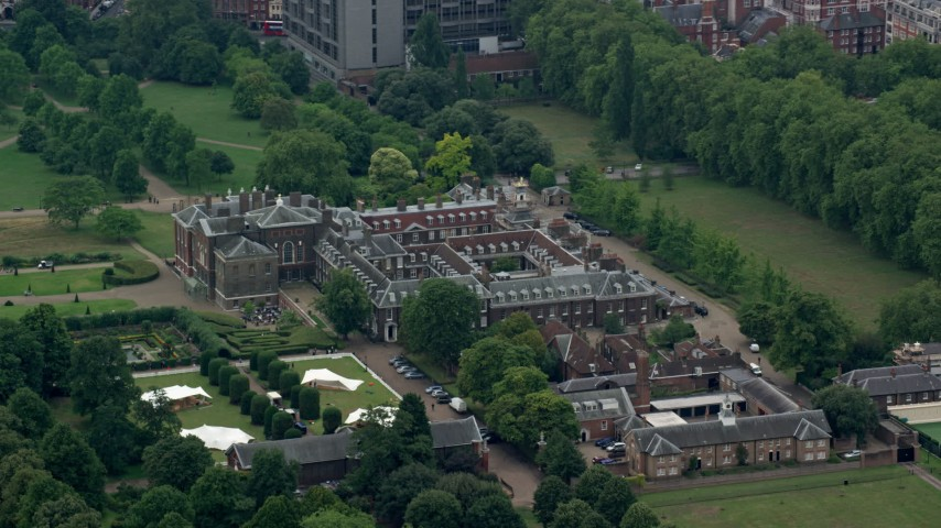 6K stock footage aerial video of orbiting Kensington Palace, London, England Aerial Stock Footage | AX114_252