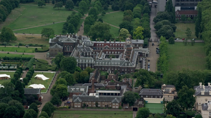 6K stock footage aerial video of an orbit of Kensington Palace, London, England Aerial Stock Footage | AX114_253
