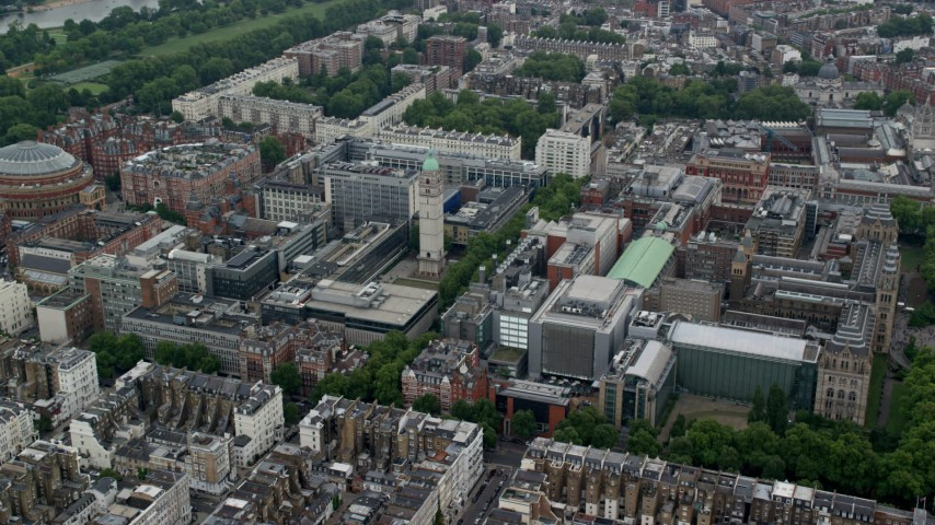 6K aerial stock footage video of Queen's Tower near Royal Albert Hall, London, England Aerial Stock Footage | AX114_259
