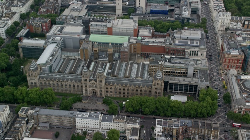 6K stock footage aerial video of an orbit of the Natural History Museum, London, England Aerial Stock Footage | AX114_261