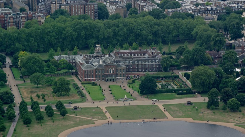 6K stock footage aerial video of Kensington Palace in London, England Aerial Stock Footage | AX114_265