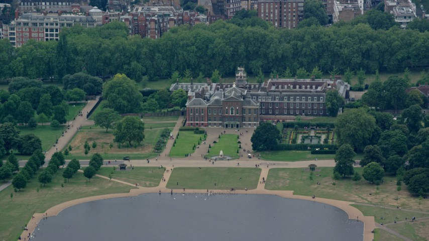 6K stock footage aerial video of the front of Kensington Palace, London, England Aerial Stock Footage | AX114_266