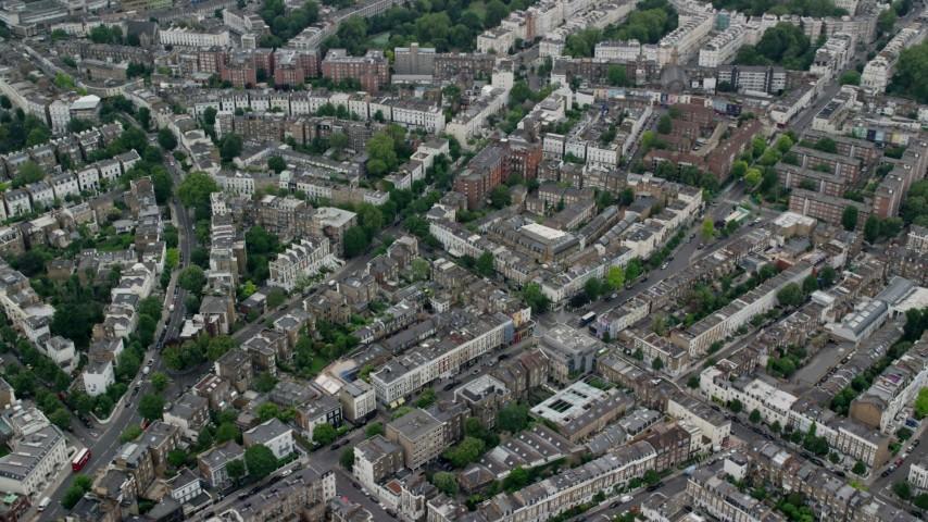 6K stock footage aerial video of orbiting residential neighborhoods, London, England Aerial Stock Footage | AX114_269