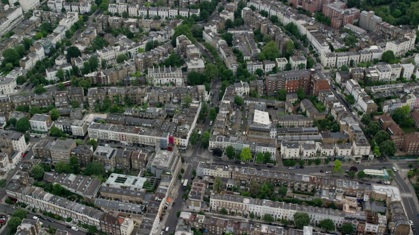 6K stock footage aerial video of an orbit of residential neighborhoods, London, England Aerial Stock Footage | AX114_270