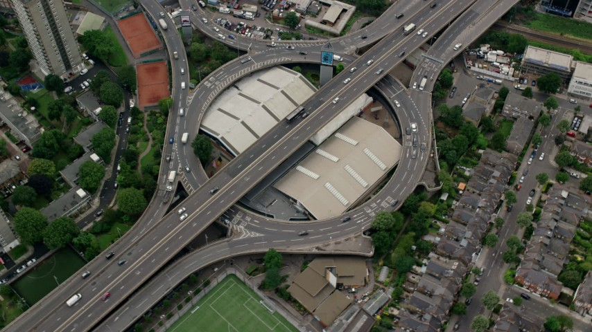 6K stock footage aerial video of orbiting Westway on A40 Highway, London, England Aerial Stock Footage | AX114_271
