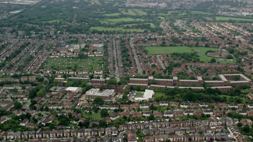 6K stock footage aerial video of residential neighborhoods near Brent Valley Golf Club, London, England Aerial Stock Footage | AX114_279