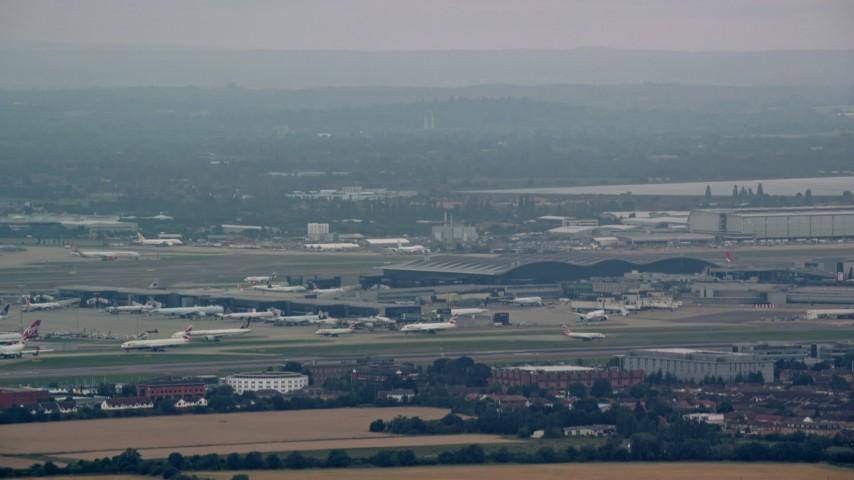 6K stock footage aerial video of London Heathrow Airport, England Aerial Stock Footage | AX114_283