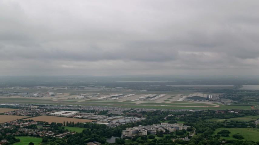 6K stock footage aerial video a view of London Heathrow Airport, England Aerial Stock Footage | AX114_294