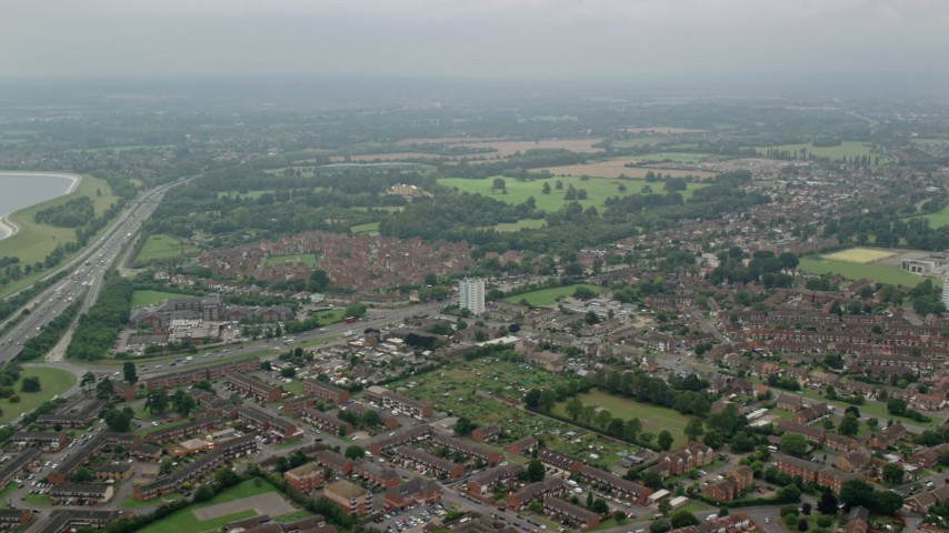 6K stock footage aerial video of residential neighborhoods, Slough, England Aerial Stock Footage | AX114_298