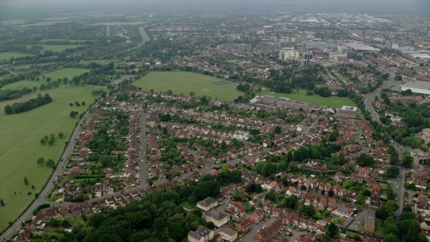 6K stock footage aerial video fly over residential neighborhoods near Upton Court Park, Slough, England Aerial Stock Footage   AX114_301