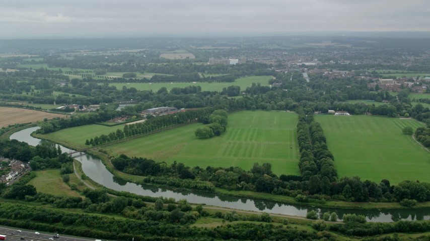 6K stock footage aerial video of flying over the Thames toward Windsor Castle, England Aerial Stock Footage | AX114_304