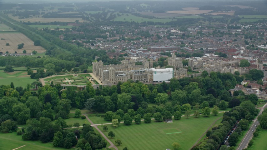 6K stock footage aerial video flyby Windsor Castle, England Aerial Stock Footage | AX114_306