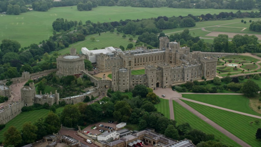 6K stock footage aerial video flyby Windsor Castle, England Aerial Stock Footage AX114_312 | Axiom Images