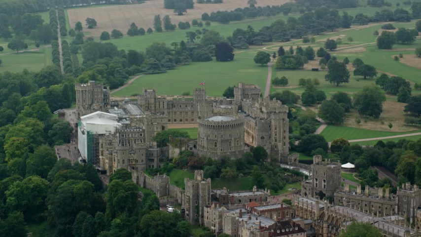 6K stock footage aerial video of an orbit around iconic Windsor Castle, England Aerial Stock Footage | AX114_316