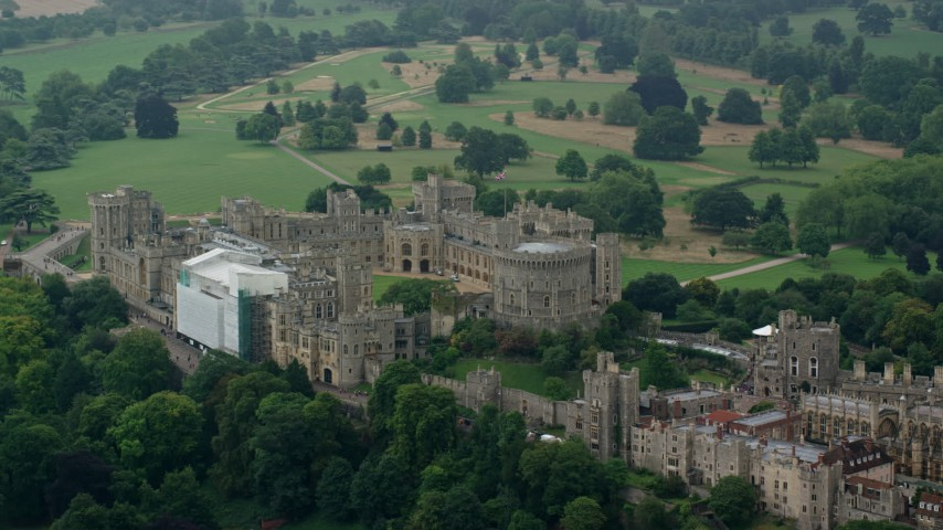 6K stock footage aerial video of circling historic Windsor Castle, England Aerial Stock Footage | AX114_317
