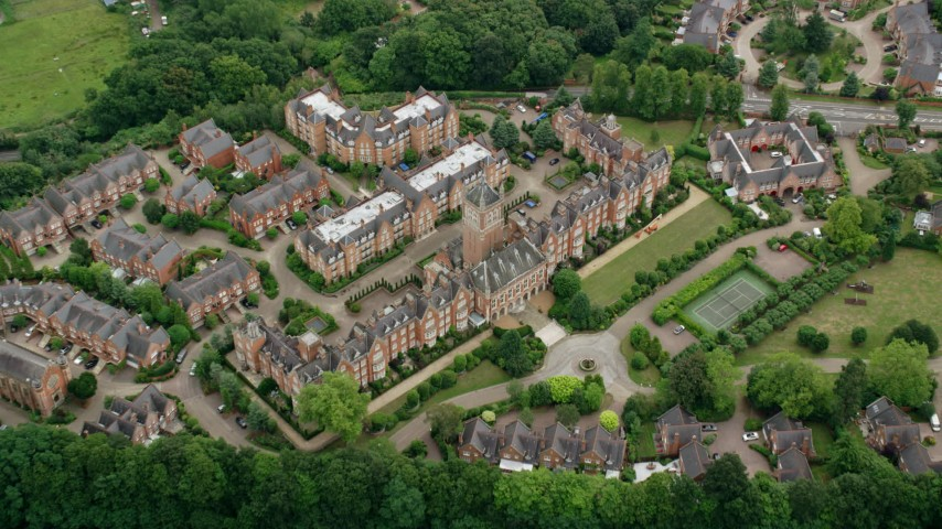 6K stock footage aerial video of a bird's eye view of Holloway Sanatorium, Virginia Water, England Aerial Stock Footage AX114_349 | Axiom Images