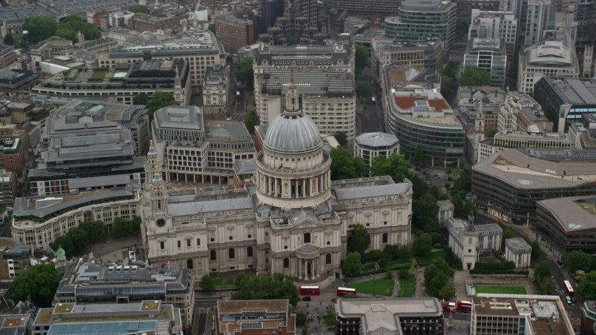 6K stock footage aerial video of orbiting St Paul's Cathedral, London England Aerial Stock Footage | AX115_093