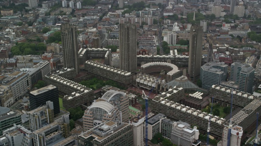 6K stock footage aerial video approach Barbican Complex and London School for Girls, London England Aerial Stock Footage | AX115_094