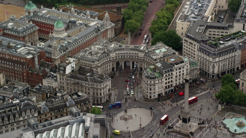 6K stock footage aerial video of approaching The Admiralty Arch at Trafalgar Square, London England Aerial Stock Footage | AX115_098
