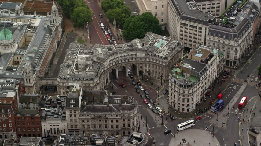 6K stock footage aerial video of The Admiralty Arch at Trafalgar Square, London England Aerial Stock Footage   AX115_099